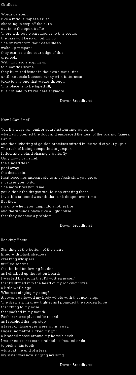 Poetry by Devon Broadhurst