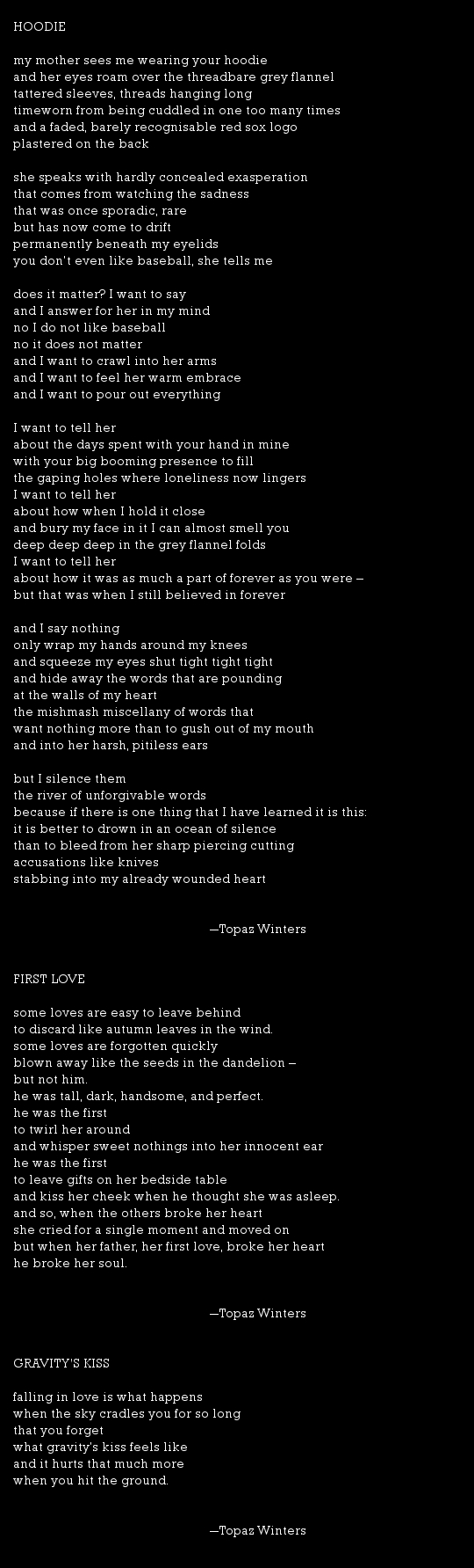 Topaz Winters Poetry