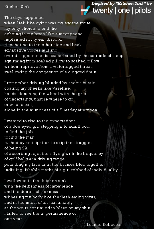 kitchen sink twenty one pilots kitchen sink lyrics typography - Kitchen Sink Lyrics